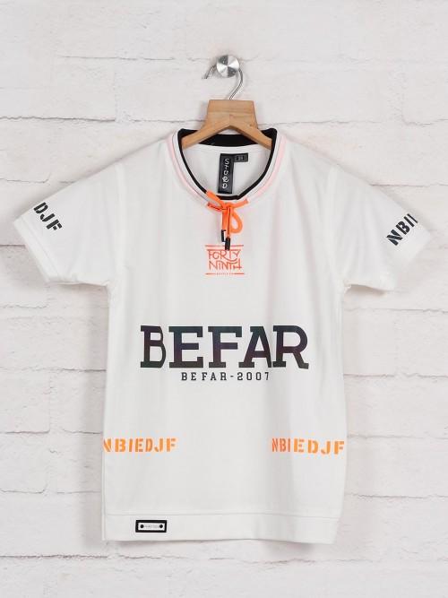Sturd White Printed Cotton T-shirt For Boys