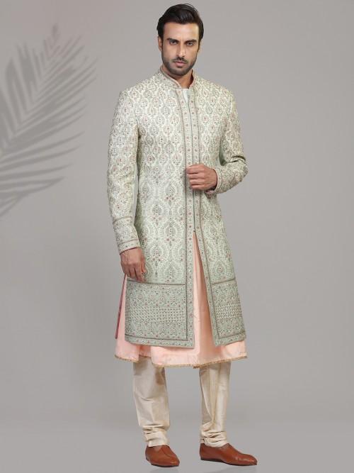 Stylish Peach And Pista Sherwani In Silk