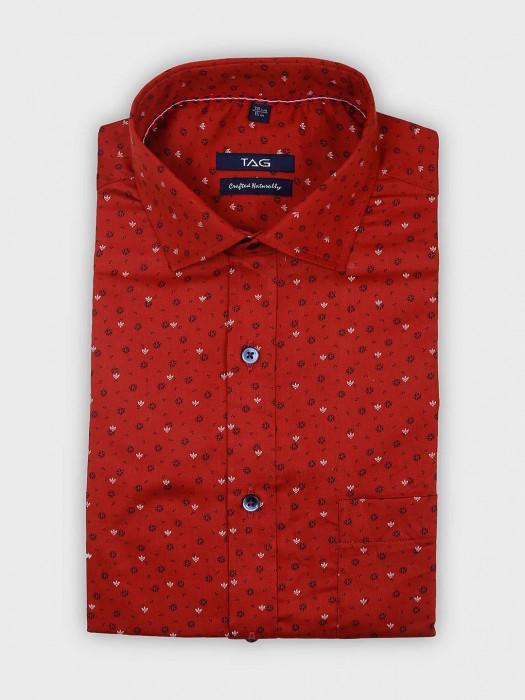 TAG Maroon Printed Formal Wear Shirt