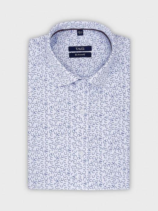 TAG White Printed Full Sleeves Shirt