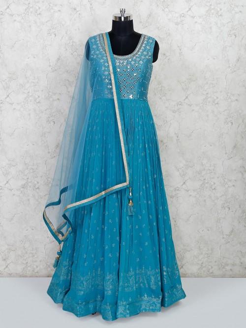 Teal Blue Georgette Anarkali Salwar Suit For Wedding