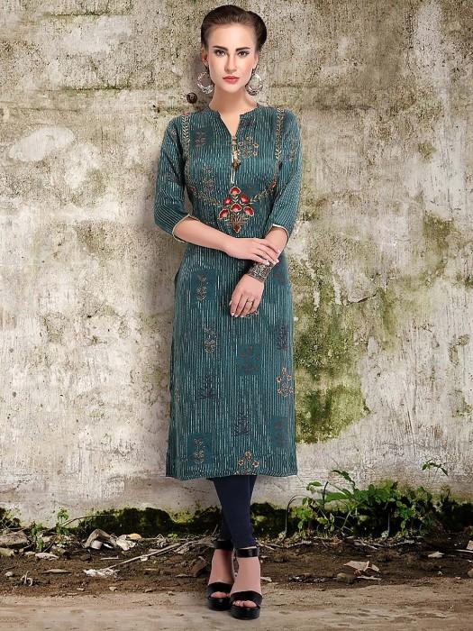 Teal Green Festive Cotton Silk Punjabi Salwar Suit