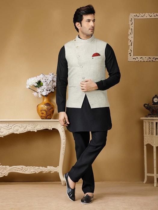 Terry Rayon Cream And Black Hue Solid Waistcoat Set