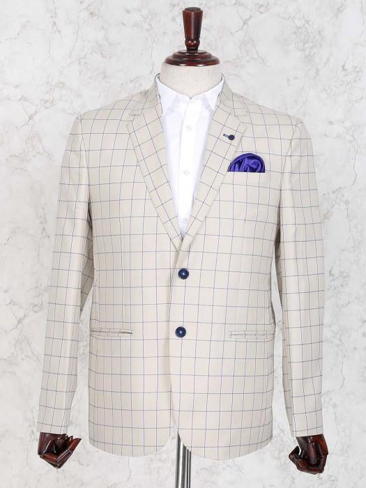 Terry Rayon Fabric Cream Checks Blazer