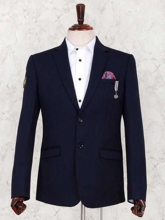 Terry Rayon Fabric Navy Party Wear Blazer