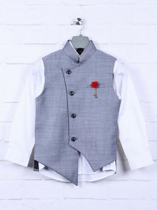 Terry Rayon Fabric Solid Grey Hue Waistcoat