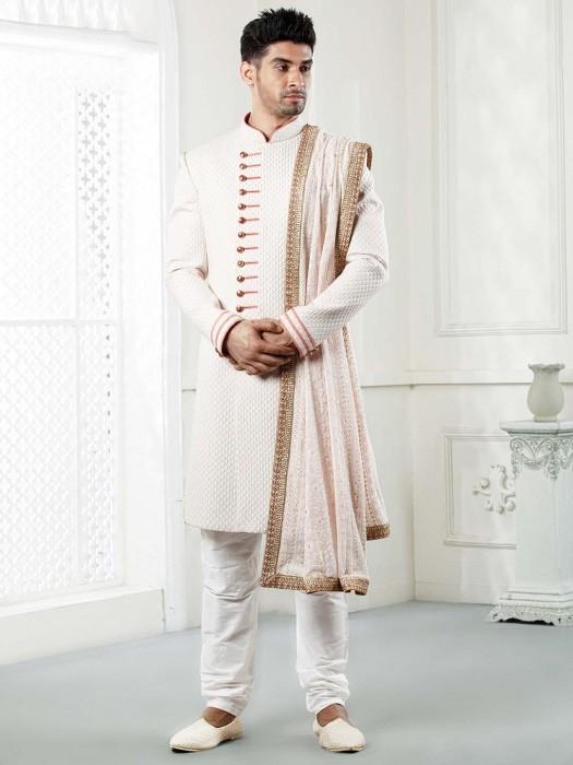Terry Rayon Fabric White Hued Sherwani For Wedding