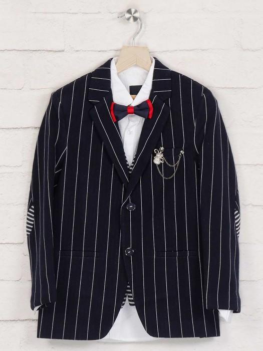 Terry Rayon Navy Stripe Blazer