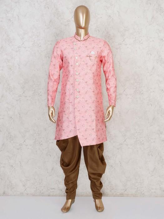Terry Rayon Pink Wedding Semi Indo Western