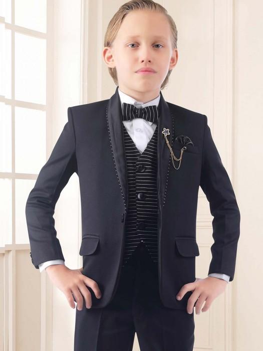 Three Piece Black Hue Terry Rayon Tuxedo Suit