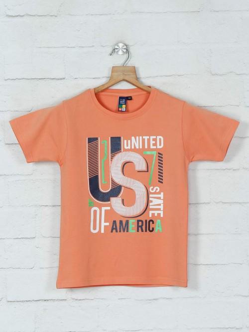 Timbuktuu Orange Printed Casual T-shirt