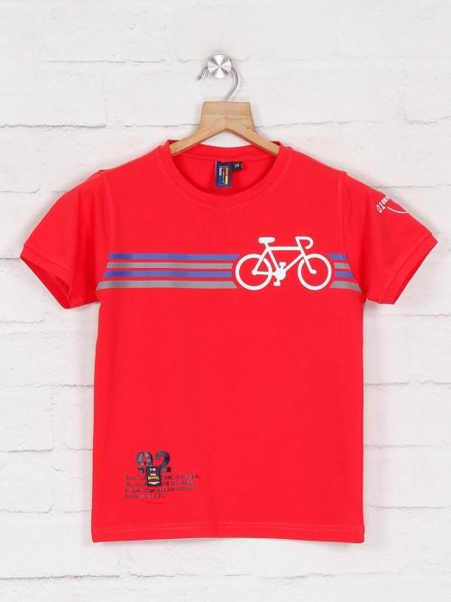 Timbuktuu Presented Red Printed Casual T-shirt
