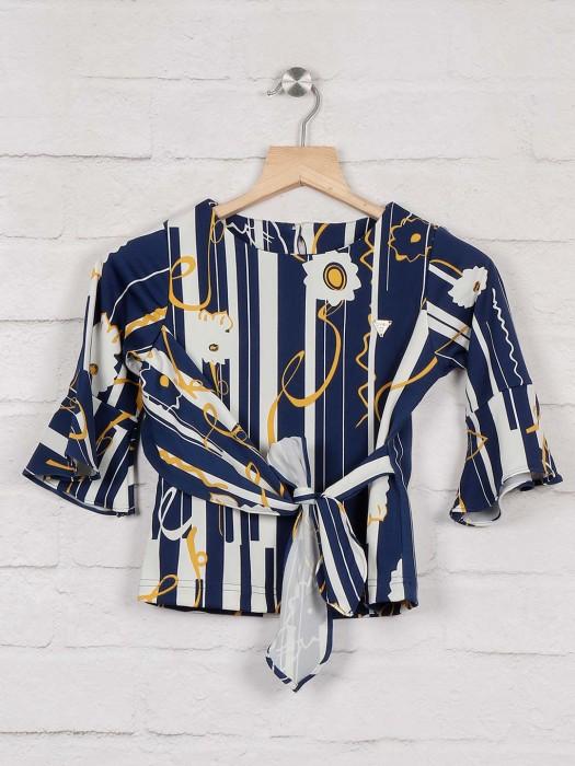 Tiny Girl Cotton Fabric Blue Hue Round Neck Top