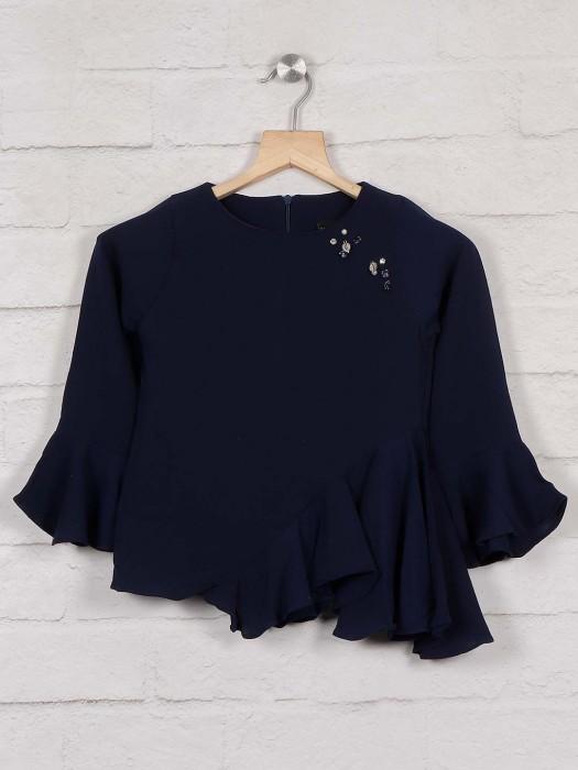 Tiny Girl Navy Blue Crepe Designer Top