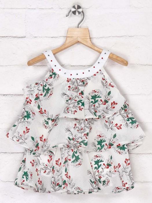 Tiny Girl Printed Cream Cotton Top