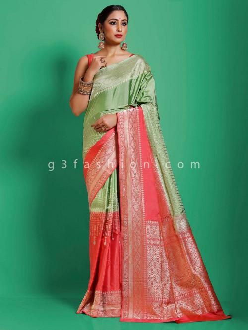 Traditional Look In Light Green Banarasi Silk Saree
