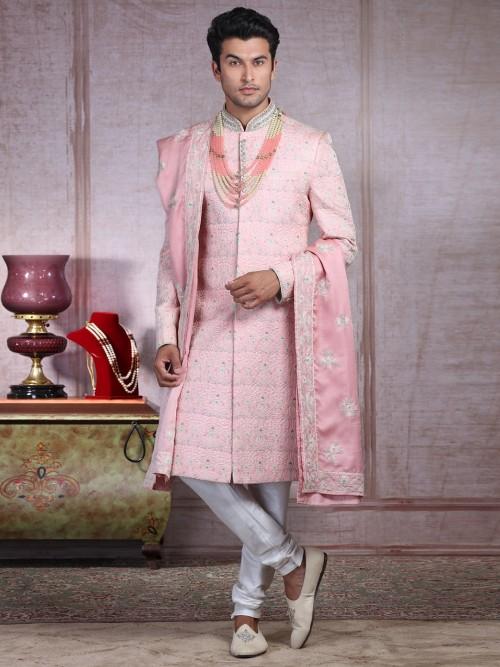 Traditional Pink Sherwani Set In Silk