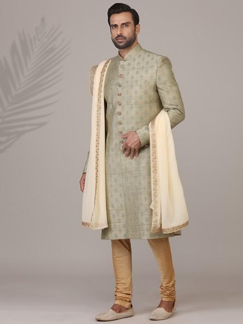 Trendy Olive Raw Silk Sherwani Set