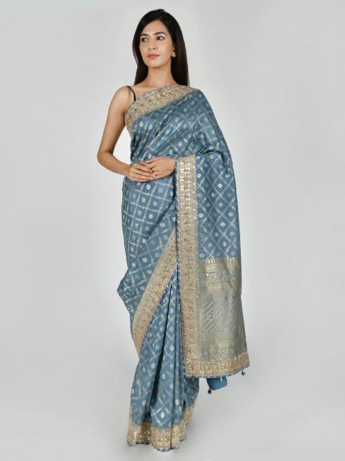 Tussar Silk Blue Party Function Saree