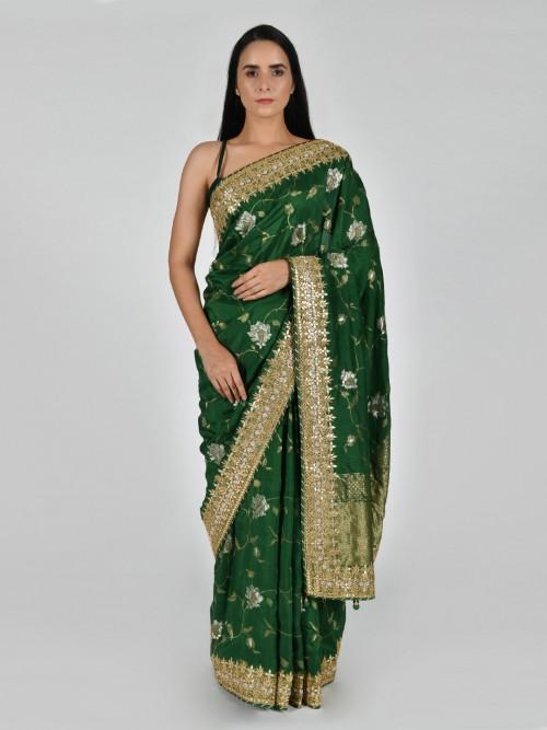 Tussar Silk Green Saree With Matching Pallu