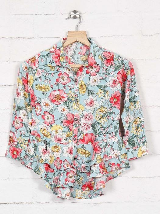 Twisty Cotton Fabric Blue Designer Top