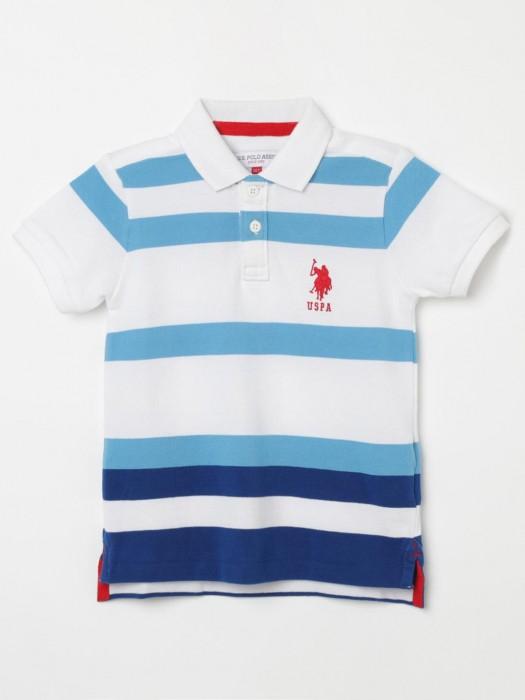 U S Polo Assn Aqua And White Stripe T-shirt