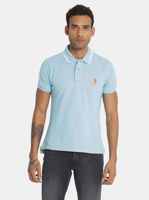 U S Polo Assn Blue Solid Casual Polo T-shirt