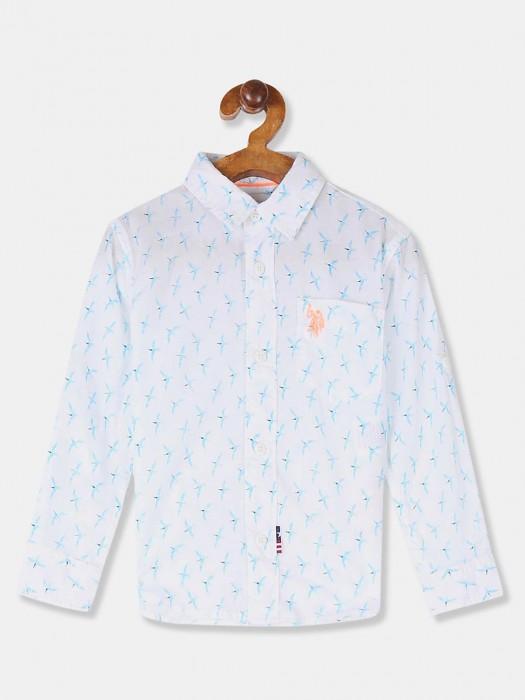 U S Polo Assn Cotton Printed White Shirt