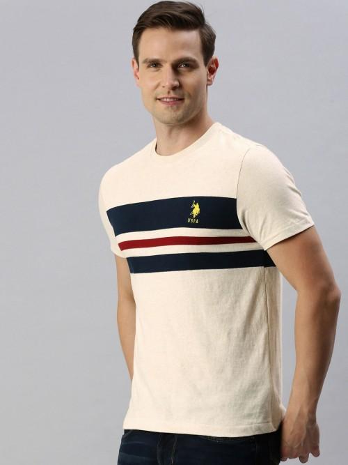 U S Polo Assn Cream Stripe T-shirt
