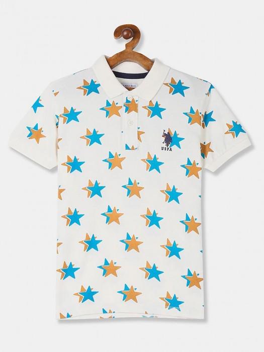 U S Polo Assn Off White Printed Boys T-shirt