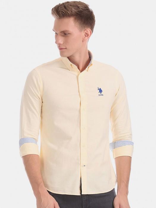 U S Polo Assn Yellow Cotton Solid Shirt
