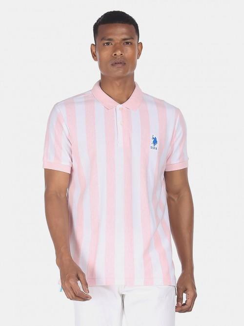U S Polo Assn Presented Pink Stripe T-shirt