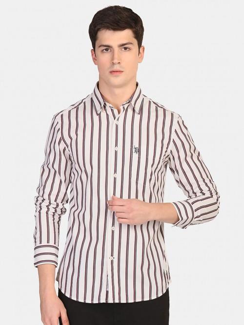 U S Polo Assn Slim Fit White Stripe Shirt
