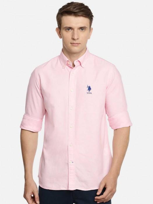 U S Polo Assn Solid Pink Shirt