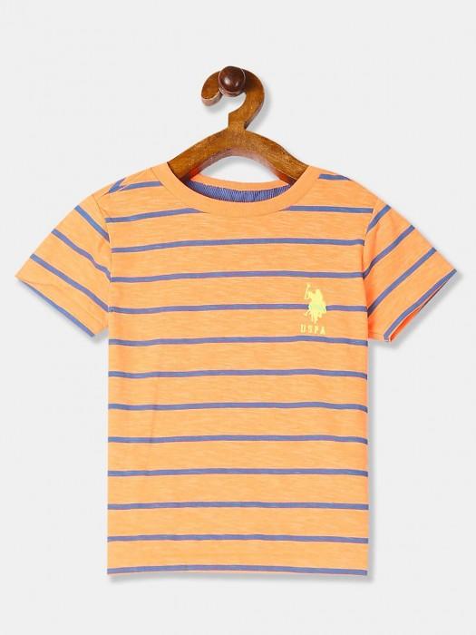 U S Polo Assn Stripe Orange Casual T-shirt