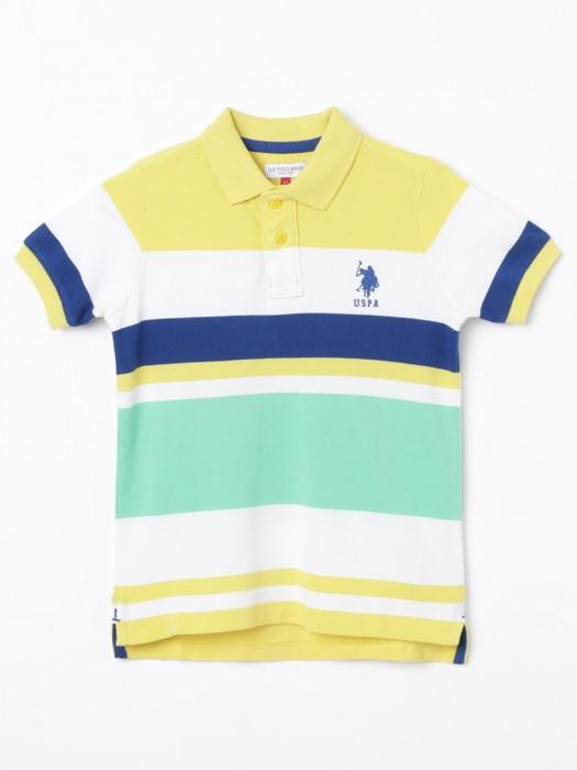 U S Polo Assn Yellow And Sea Green Stripe T-shirt