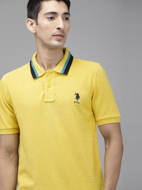 U S Polo Assn Yellow Solid Mens Polo T-shirt
