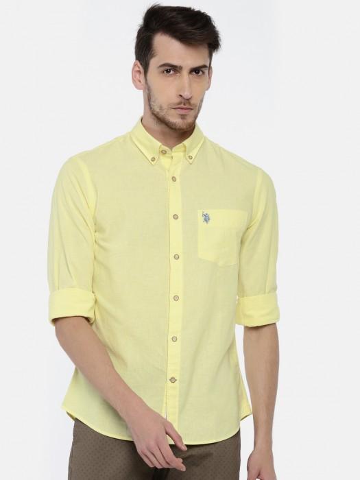 U S Polo Plain Yellow Shirt
