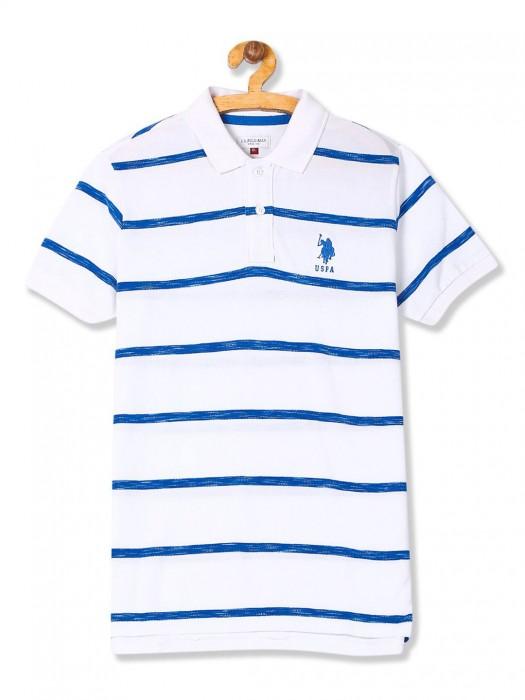 U S Polo Stripe White Color Boys T-shirt