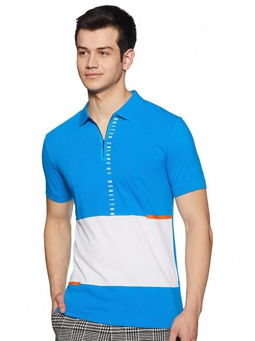 UCB Aqua Casual Wear Solid T-shirt