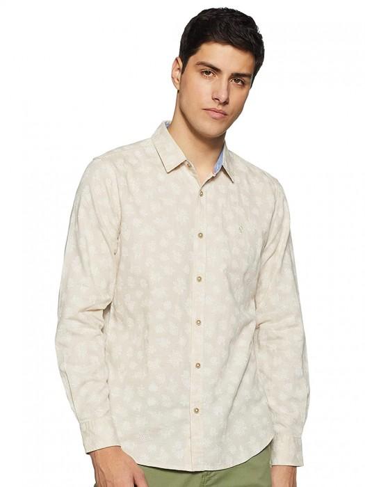 UCB Beige Printed Casual Shirt
