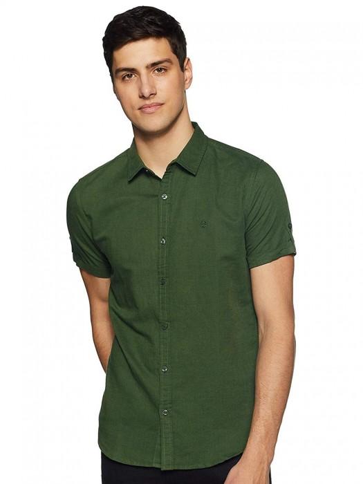 UCB Solid Cotton Green Shirt