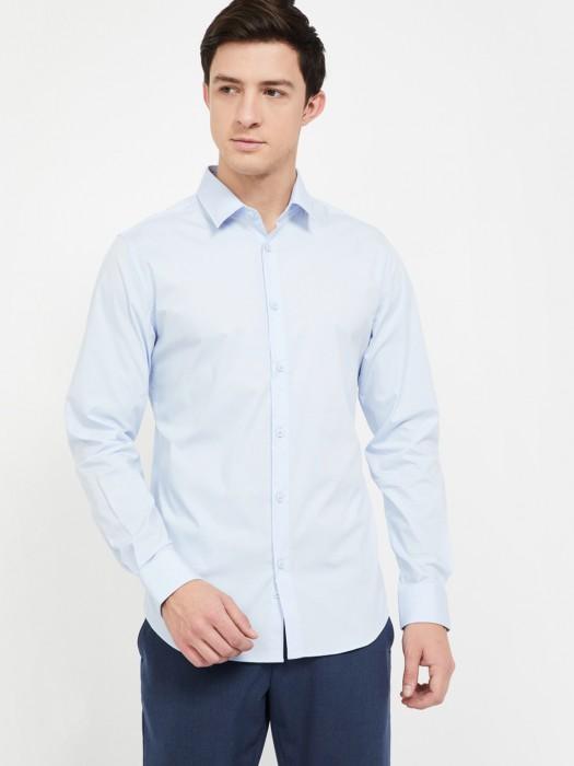 UCB Solid Sky Blue Cotton Shirt