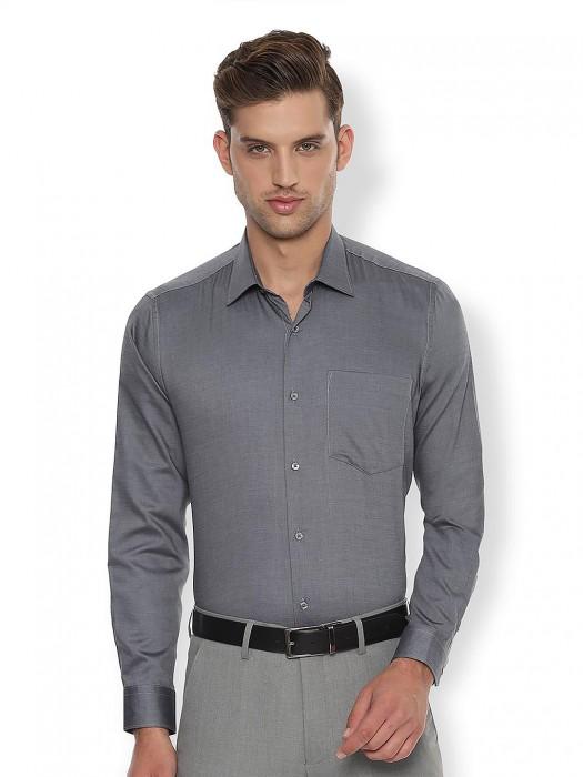 Van Heusen Grey Solid Cotton Shirt