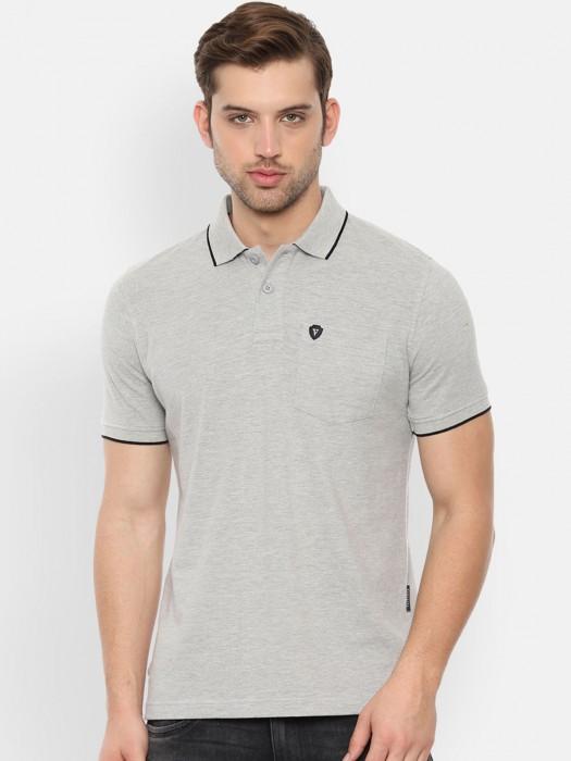 Van Heusen Grey Solid Cotton T-shirt