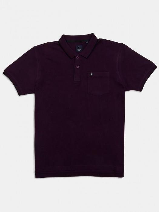 Van Heusen Patch Pocket Solid Purple T-shirt