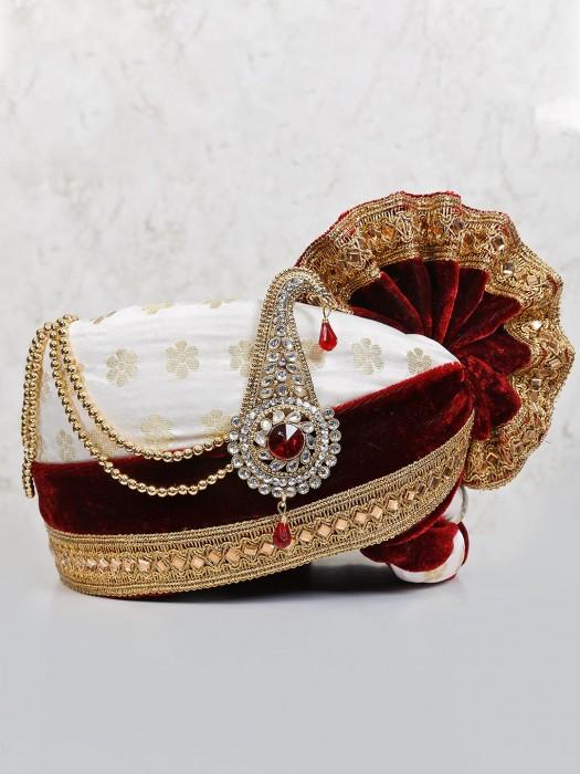 Velvet White And Maroon Zari Weaving Turban