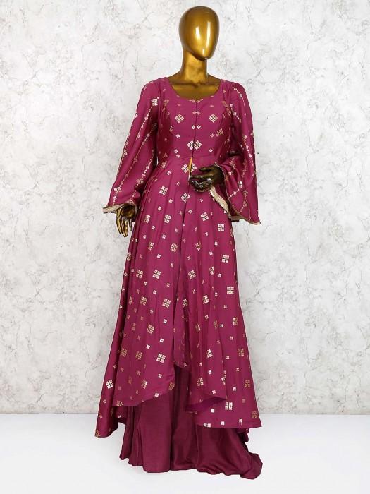 Purple Hue Festive Cotton Silk Designer Palazzo Suit