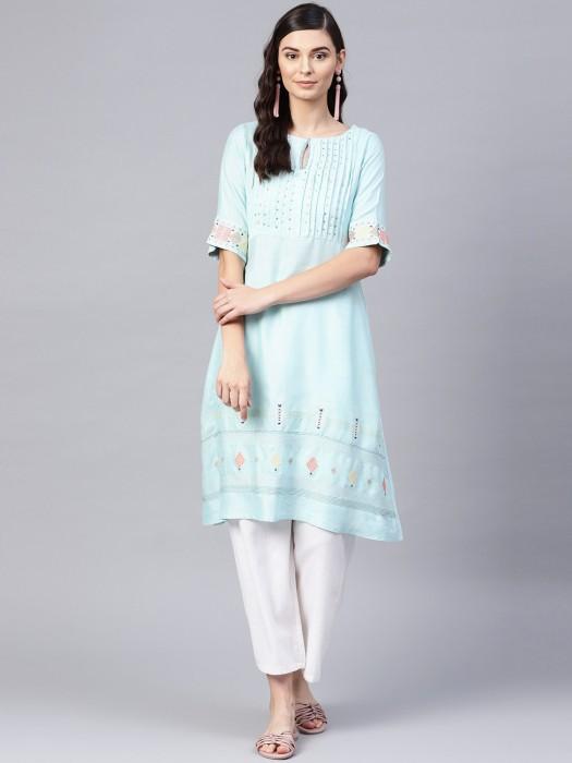 W Aqua Hue Cotton Fabric Casual Kurti