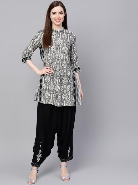 W Black Color Printed Cotton Kurti Set